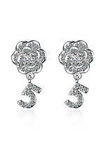 Women's Stud Earrings AAA Cubic Zirconia Flower Style Hypoallergenic Zircon Platinum Plated Flower Jewelry 147Party/Evening Dailywear