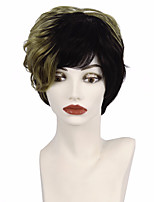 Short Layered Cut Pixie Synthetic Fluffy Wigs Heat Resistant Ombre Blond Highlight Black With Bangs For African American Women