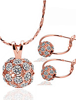 Lucky Doll Women's Jewelry Set Unique Design Brass Rhinestone Rose Gold Plated Ball For Party Birthday Business Gift Daily Casual Office & Career1