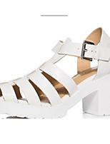 Feminino Saltos Chanel Couro Ecológico Verão Casual Chanel Salto Grosso Branco Preto 5 a 7 cm