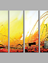 Abstract Oil Painting Yellow Line Set of 4 Framed Handmade Oil Painting For Home Decoration