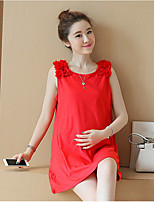 Women's Casual/Daily Simple Loose Dress,Solid Round Neck Mini Sleeveless Others Summer Mid Rise Micro-elastic Medium