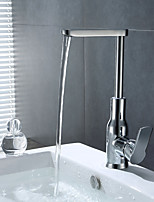 Contemporary Innovative Design Brass Chrome of Lift up and down Bathroom Sink Faucet - Silver