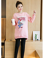 Women's Casual/Daily Sweatshirt Solid Round Neck strenchy Cotton Long Sleeve Spring Fall
