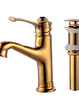 Centerset One Hole for  Gold , Bathroom Sink Faucet