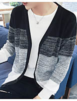 Men's Casual/Daily Regular Cardigan,Striped V-neck Long Sleeve Roman Knit Fall Medium Micro-elastic