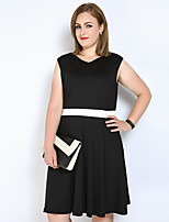 Really Love Women's Plus Size Casual/Daily Party Sexy Vintage Simple A Line Sheath Black and White Dress,Color Block Patchwork V Neck Midi Sleeveless