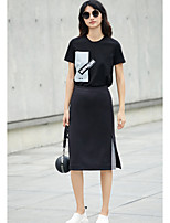 AMIIWomen's Casual/Daily Knee-length Skirts A Line Striped Summer