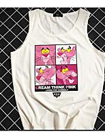 Women's Daily Vintage Summer Tank Top,Animal Print Round Neck Sleeveless Cotton Medium
