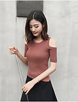 Women's Dailywear Date Simple Regular Cardigan,Solid Round Neck Short Sleeve Other Spring Medium Micro-elastic