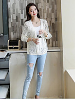 Women's Daily Casual Sexy Simple Short Vest,Solid V Neck Long Sleeve Cotton Spring Medium Micro-elastic
