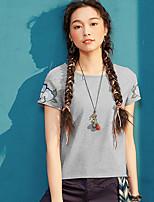 Tee-shirt Femme,Couleur Pleine Broderie Quotidien Décontracté simple Manches Courtes Col Arrondi Coton