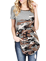 Women's Daily Casual Going out Street Vintage Simple Loose Street chic Spring Summer T-shirtSimple Camouflage Color Round Neck Short Sleeve