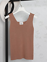 Women's Casual Simple Tank Top,Solid V Neck Sleeveless Cotton Blend