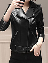 Women's Daily Casual Modern/Comtemporary Spring/Fall Leather Jacket,Solid Peaked Lapel Long Sleeve Regular Polyester Pleated