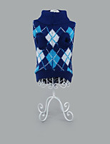 Chien Pull Vêtements pour Chien Décontracté / Quotidien Géométrique Fuchsia Vert Bleu Rose Bleu clair