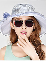 Women's Silk Floral Print Sun Hats Foldable Holidays Hats