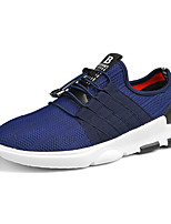 Men's Sneakers Comfort PU Tulle Spring Fall Casual Lace-up Flat Heel Blue Gray Black Flat