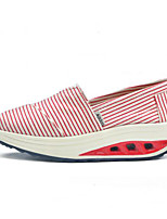 Women's Sneakers Comfort PU Canvas Spring Casual Blue Red Gray Flat