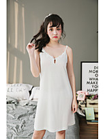 Women's 2Pcs Sleepwear Flower Appliques V Neck Sweet Cozy Night Dress Suit