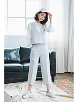 Women's Casual/Daily Simple Shirt Pant Suits,Solid Shirt Collar