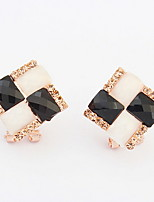 Korean Style Sweet  Elegant  Square Cut Rhinestone Opal  Earrings Women's Business Stud Earrings Movie Jewelry