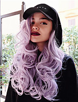 Long Soft Light Purple Wave Lace Front Wig Synthetic Heat Resistant Natural Wigs Women
