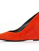 Women's Heels Comfort Cowhide Suede Spring Casual Orange Black Flat