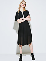 VINGWomen's Casual Shift DressSolid V Neck Midi Short Sleeve Others Summer Mid Rise Micro-elastic Thin