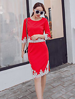 Women's Casual/Daily Street chic Spring Summer Shirt Skirt Suits,Solid Round Neck Short Sleeve strenchy