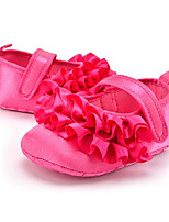 Baby Kids' Loafers & Slip-Ons First Walkers Satin Summer Fall Party & Evening Dress Casual Ruffles Flat Heel Peach Black Flat