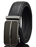 Men's Simple Business Black Genuine Leather Alloy Automatic Buckle Waist Belt Work/Casual/Party All Seasons