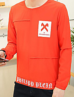 Sweatshirt Homme Quotidien Décontracté Couleur Pleine Col Arrondi Micro-élastique Coton Polyester Manches longues Printemps Automne
