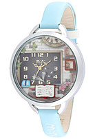 Women's Fashion Watch Quartz Leather Band Blue