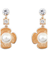 Euramerican Luxury Elegant Flower Rhinestone  Gold Pearl Earrings Lady Party  Drop Earrings Movie Jewelry