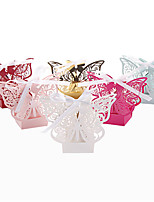50pcs Laser Cut Butterfly Wedding Favors Box Candy Box 6 color