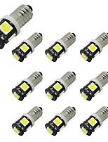 Honsco 10pcs e10 1w 100lm blanc 5smd 5050 conduit pour la lampe de porte de voiture dc12v