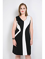 Really Love Women's Plus Size Casual/Daily Party Sexy Vintage Street chic Shift Sheath Black and White Dress,Color Block Patchwork V NeckMidi