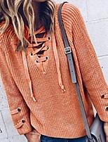 Для женщин На выход На каждый день Длинный Кардиган Однотонный,V-образный вырез Длинный рукав Хлопок Осень Средняя Слабоэластичная