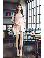 Women's Casual/Daily A Line Dress,Solid Round Neck Mini ¾ Sleeve Cotton Polyester Summer High Rise Micro-elastic Thin