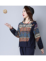 Women's Holiday Boho Spring T-shirt,Patchwork Round Neck Long Sleeve Others Thin