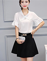 Women's Birthday Simple Summer Shirt Skirt Suits,Solid Shirt Collar ½ Length Sleeve Micro-elastic