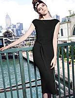 IKWomen's Daily Sheath DressSolid Round Neck Midi Sleeveless Polyester Summer High Rise Inelastic Thin
