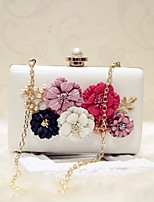 Women Evening Bag PU All Seasons Event/Party Party & Evening Date Baguette Flower Magnetic Apricot Pale Pink Black White