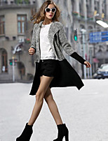 Women's Work Simple Long Cloak / Capes,Color Block V Neck Long Sleeve Wool Winter Thick Stretchy