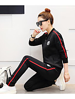 Women's Casual/Daily Sports Simple Active Hoodie Pant Suits,Solid V Neck Long Sleeve