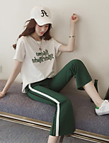 Women's Going out Casual/Daily Simple Summer T-shirt Pant Suits,Characters Round Neck Short Sleeve