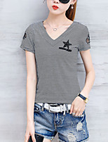 Women's Athletic Daily Casual Sexy Street chic Sophisticated Spring Summer T-shirt,Solid Striped V Neck Short Sleeve Others
