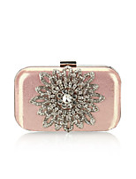 Women Evening Bag Polyester All Seasons Formal Event/Party Wedding Minaudiere Crystal/ Rhinestone Clasp LockBlushing Pink Silver Black
