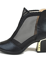 Women's Heels Club Shoes Fabric Spring Summer Dress Chunky Heel Black Gold 2in-2 3/4in